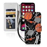 バスケットボール basketball アイフォン11、11 Pro、11Pro MAXレザー手帳型機能付き カード収……