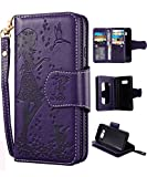 FLYEE Samsung S8 Plus Case,Galaxy S8 Plus Wallet Case, 9 Card Slot PU Leather Magnetic Protective Cover with Mirror and Wrist Strap for Samsung Galaxy S8 Plus Purple
