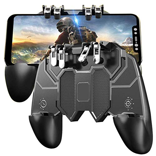 odestro AK-66 Mobile Gaming Controller with L1R1 L2R2 Triggers, PUBG Mobile Game Controller 6 Fingers Operation, Joystick Remote Grip Shooting Aim Keys for 4.7-6.5' iPhone/Android