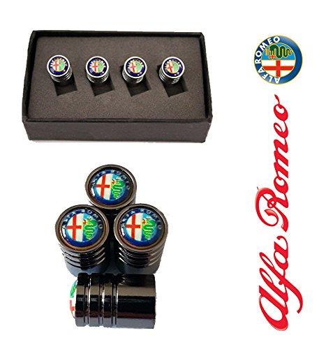 Alfa Romeo Black Deluxe Wheel Valve Dust Caps. Giulietta, MiTo, Spider, 147