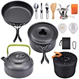 G4Free Camping Cookware Mess Kit, Lightweight Pot Pan Kettle Fork Knife Spoon Kit for Backpacking, Outdoor Camping Hiking and Picnic(15pcs Set)
