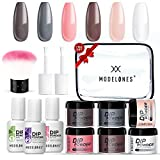 Dipping Powder Starter Nail Kit Modelones Peachy Nails for Fall 6 Colors- Manicure Nail Art Set Essential Kit for Travelling, Nail Starters Preference, Mature Girl and Color Lover.