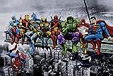 Marvel & DC Superheroes Déjeuner au sommet d'un gratte-ciel - Art...