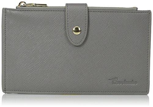 Women's RFID Genuine Leather Ultrathin Bifold Long Wallet (Grey)
