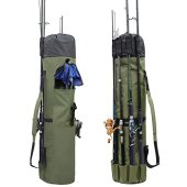 Allnice Durable Canvas Fishing Rod & Reel Organizer Bag Travel Carry Case Bag- Holds 5 Poles & Tackle (Khaki Green)