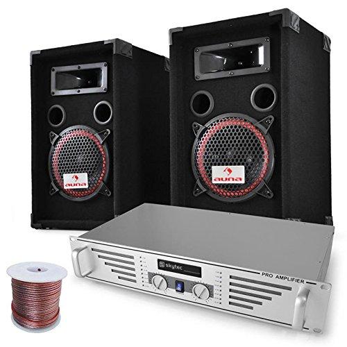 DJ-PA-Set Komplettset Funky Breakbeats 1000 Watt mit PA-Verstärker Skytec & 500 Watt Auna PA-Boxen + Kabelset für bis zu 200 Personen