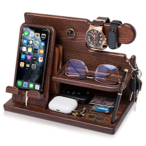 TESLYAR Wood Phone Docking Station Ash Key Holder Wallet...