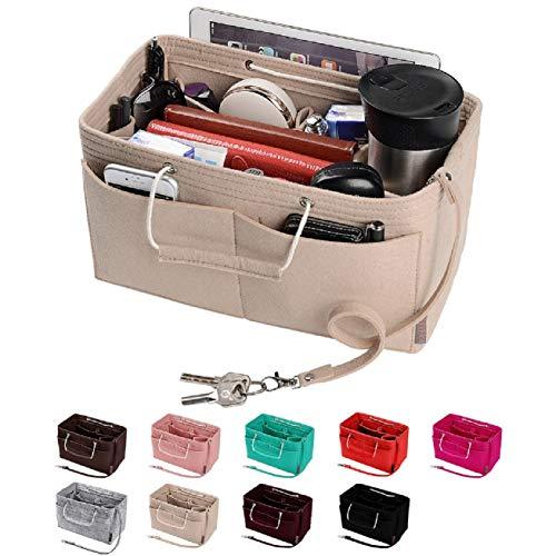 Purse Organizer, Multi-Pocket Felt Handbag Organizer, Purse Insert Organizer with Handles, Medium, Large (Large, Beige)