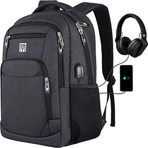 Schulrucksack Jungen, Rucksack Herren mit USB-Ladeanschluss, Wasserdicht Laptop Rucksack 15,6 Zoll für Arbeit Reisen Schule Herren Oxford 30-45L
