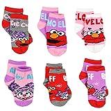 Sesame Street Girls 6 pack Quarter Socks (2-4 Toddler (Shoe: 4-7), 6 pk Elmo Abby)