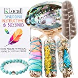 3 White Sage Fire Flowers Smudging Kit | Smudge Kit with Abalone Shell, Stand, Instructions, Blessings & Turquoise Bracelet