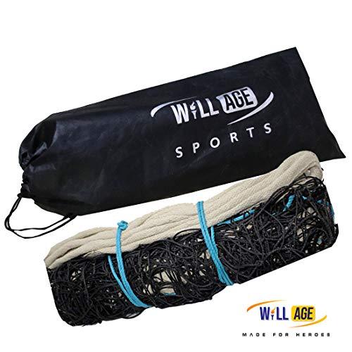 WILLAGE Volleyball net Black Heavy Duty Machine Made Nylon Volleyball Net (4 Side Cotton & Niwar Tape)