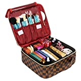 SSSCase Travel Makeup Bag Cute Cosmetic Case Professional Train Case Large Make Up Box Storage Organizer with Brush Slots, Removable Inserts, Hard Shell for Women Girls, Brown & Red