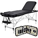 Yaheetech Massage Table Portable Massage Bed 3 Folding 84 Inch Aluminium Frame Lightweight Height Adjustable Salon Spa Table (Black)