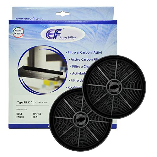 Euro Filter FKS240 Filtro Cappa Carbone Attivo (2 PEZZI) Type FIL120 Diametro 125 mm H 41 mm Best...