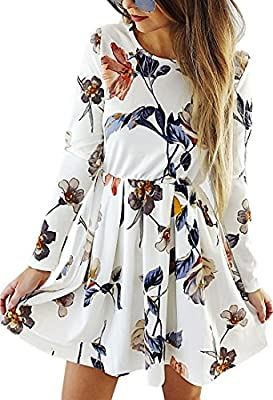 Material: 85% Polyester+15% Cotton. This floral dress is 100% brand new and high quality! Features: Floral Printed, Pleated, A Line, Long Sleeve, Mini Length, 4 Colors Avaiable, Wrinkle Free, this women's dress can be both formal or casual. Occasion:...