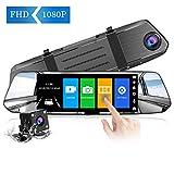 【2020 Version】 CHORTAU Spiegel Dashcam 7 Zoll Touch Screen Full HD 1080P, Weitwinkel Frontkamera und wasserdichte Rückfahrkamera, Auto Kamera mit Notrufaufzeichnung,Reverse Monitor System