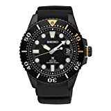 Seiko Prospex Divers Solar Mens Black Silicone Watch SNE441
