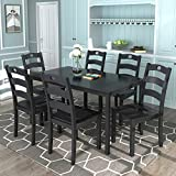 Harper & Bright Designs Dining Table Set for 6 Person, Kitchen Dining Room Table Set of 7, Dining Table and 6 Chairs (Black)