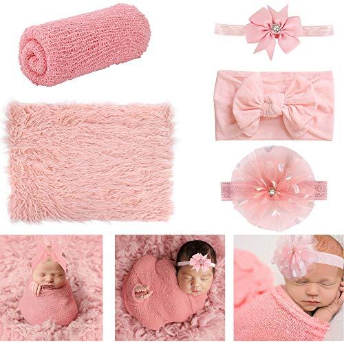 Newborn Photography Props, 4 PCS Baby Photo Props Long Ripple...