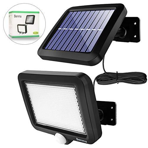 Solarleuchten für Außen, 56 LED Ultrahelle Solares Leuchte mit Bewegungsmelder, IP65 Wasserdichte, 120°Beleuchtungswinkel Solar Aussenleuchte 16.5ft Kabel