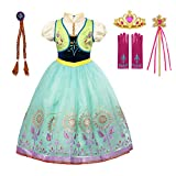 aibeiboutique Princess Anna Costume Halloween Cosplay Deluxe Dress Up for Girls (Green, 6-7 Years)