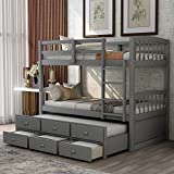 Twin Over Twin Bunk Bed with Trundle, Wooden Bunk Bed Frame with 3 Drawers for Kids, Teens, Adults (Gray)