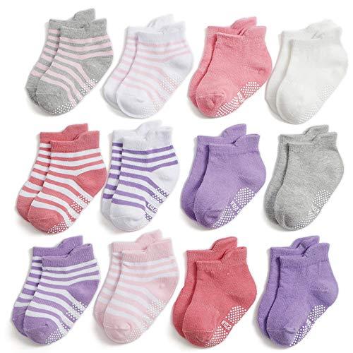 Yafane 12 Paia Ragazza Calzini Antiscivolo Bambini Neonato Cotone Calze Antiscivolo per Ragazze Bambina, 1-3 Anni