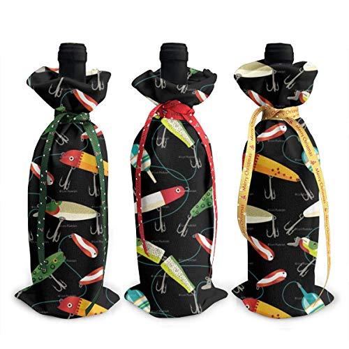 3 pezzi di copri bottiglia di vino Borse esche da pesca Sacchetti regalo bottiglia di vino per la cena Tavolo da pranzo Champagne
