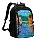 XCNGG Mochila USB con múltiples bolsillos, mochila informal, mochila escolar Laptop Backpacks Tactical Art Painting of Port Grimaud in France Office & School Supplies with USB Data Cable and Music Jac