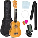 Best Choice Products 21in Acoustic Basswood Ukulele Starter Kit w/Gig Bag, Strap, Tuner, Extra Strings - Light Brown
