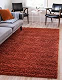 Unique Loom Solo Solid Shag Collection Modern Plush Terracotta Area Rug (5' 0 x 8' 0)