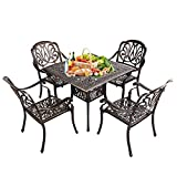 USSerenaY 5-Piece Cast Aluminum Patio Dining Set Outdoor Dining Set with Table and 4 High-Back Arm Chairs, Umbrella Hole, Antique Bronze Finish (Flower Pattern)