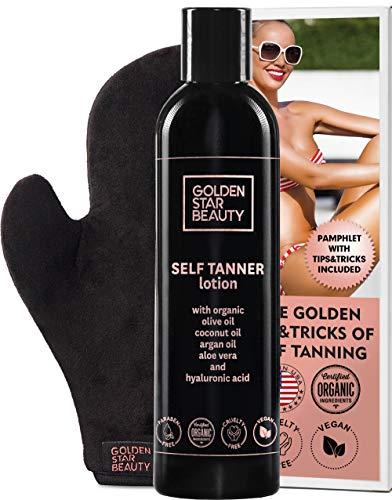 Self Tanner with Tanning Mitt - Sunless Tanning Lotion w/Hyaluronic Acid & Organic Oils Gradual Body Bronzer for Light or Medium Tan 8.0 fl.oz …