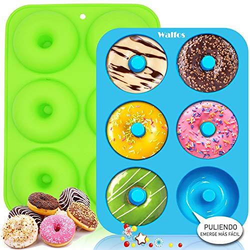 Walfos Molde para Donut de Silicona, Juego de 2 Molde de Silicona Donut, 6 Cavidades Rosquillas Antiadherentes Bandeja, para Hacer Galletas, Magdalenas, Pasteles, Bagels