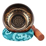 Cuenco Tibetano,Campana Metal Tazón de Cantar 9.5cm Cuenco Tibetano a Mano con un Cojín y la Baqueta para la Meditación Chakra Healing Oración Yoga Budismo y Sanación