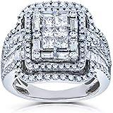 Kobelli Diamond Cluster Rectangular Frame Engagement Ring 2 CTW in 14k White Gold, Size 8, White Gold
