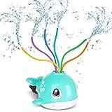 RenFox Arroseur Jouet pour Enfant, Jouets Sprinkler,Portable Baleine Jouet Arroseur d'eau avec 6 Tubes Pivotants Rotatif Jouet D'arrosage d'eau pour Jardin...