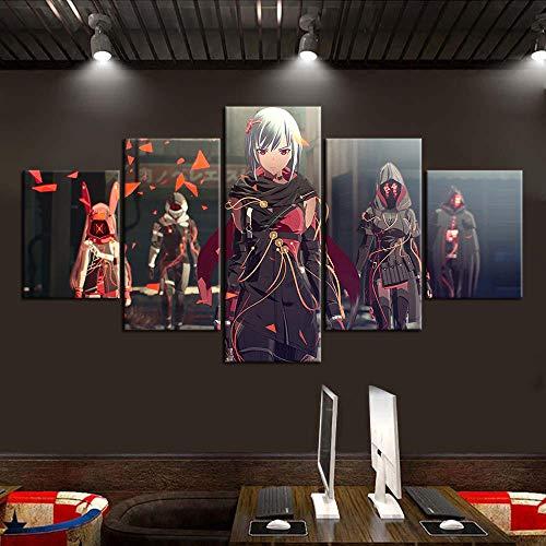 IILSZMT Art Bilder Wandbild 5 Teilig Vlies Leinwand Foto Wohnzimmer Videospiel Scarlet Nexus Auf Kunstdruck Modern Wohnzimmer Wanddekoration
