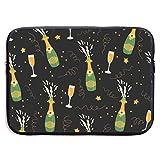 Patrón de Botellas y Vasos de champán Bolsas para computadora portátil Tableta Netbook de 15 ″, maletín con Funda para el Bolso Funda de Transporte