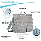 Kozmic Kids Stroller Organizer Baby Storage Bag, Large Insulated Warm Cool Pockets, Shoulder Strap and Backpack. Happy Baby and Peace of Mind For Active Moms, Waterproof, Universal Fit Great Gift Idea