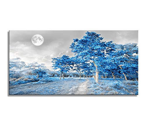 """youkuart Wall Art for Living Room Bedroom Simple Life Blue Moon Tree Artwork Painting Office Wall Decor 20"""" x 40"""" Single Pieces Canvas Prints Ready to Hang for Home Decoration"""
