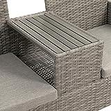 Ribelli Polyrattan Gartensitzbank mit Tisch 2-Sitzer grau Rattan Lounge - 3