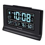 DreamSky Auto Set Alarm Clock with Indoor Temperature & Humidity, 6.6 Inch Large Display with Date, Weekday & Moon Phase, 6 Levels Brightness & Auto Dimmer, USB Charging Port, Auto DST, Backup Battery