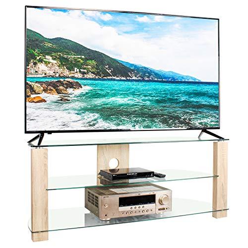 RFIVER Mobili Porta TV Angolare Supporto per TV Hifi a Schermo Piatto a LED LCD OLED e Plasma a 60...