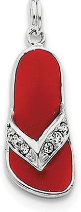 Colgante de plata de ley 925, esmaltado en rojo, diseño de flor