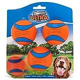 Chuckit Ultra Ball, langlebiger Gummi-Ball, mit hoher Sprungkraft, kompatibel mit Wurfgerät, 3 Stück, Größe M