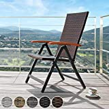 Alu Polyrattan Gartenstuhl klappbar für Garten Balkon und Terrasse verstellbare Rückenlehne - 2