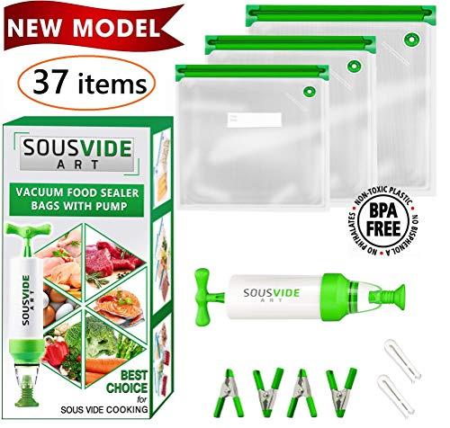 Sous Vide Bags 30 Reusable Vacuum Food Storage Bags Sous Vide Bag Kit 3 Sizes BPA Free - Bags for Sous Vide Cooking (Premium)