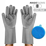 """Magic Silicone Scrubbing Gloves with Silicone Sponge –1 Pair Reusable Magic Silicone Gloves to Wash Dishes, Kitchen, Bathroom, Car Washing. 1 Pair of Silicone Scrub Gloves 13.5"""" + Sponge (Gray)"""